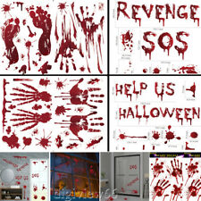 HALLOWEEN WINDOW STICKERS DECORATION SCARY BLOOD HAND PARTY BLOODY RED DECALS UK