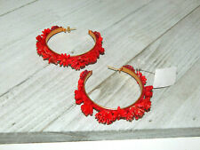 EARRINGS RED FLORAL BEADS FABRIC HOOPS ANTHROPOLOGIE MOROBIA NEW SOLD OUT $148