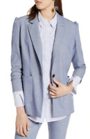 Halogen Womens Light Chambray Stretch Woven Suit Blazer Sz L 86140