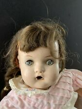 """Antique 16"""" Horsman Composition & Cloth Baby Doll Squeaker, Brown Hair Blue Eyes"""