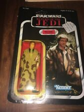 Star Wars Return of the Jedi 1983 Han Solo in Trench Coat Unpunched 77 back MOC