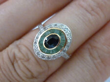 9ct Solid Gold Art Deco Vintage Gold Sapphire Emerald Diamond Ring, R74 Custom