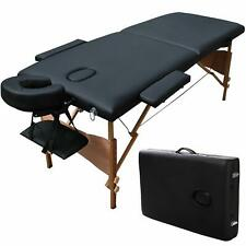 "2 Pad 84"" Black Fold Portable Massage Table Facial Spa Beauty Bed W/Free Case"