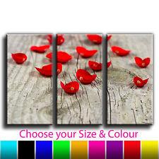 Rose Petals, Floral Treble Canvas Wall Art Picture Print 14n