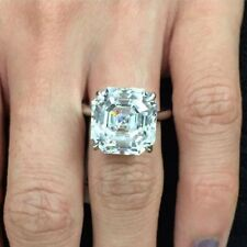 4 Prong Asscher Moissanite Ring 4.12Ct Near White Engagement 925 Sterling Silver