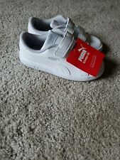 PUMA Toddler Smash V2 White Leather Sneaker Running Shoes size 10