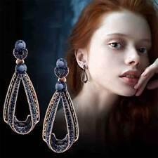 Drop long earrings earrings Dangle Retro Vintage dark blue Teardrop Rhinestone