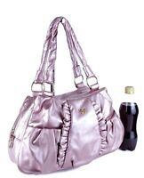 Authentic ANNA SUI Pink Pattern Leather Shoulder Bag Hand Bag Purse Used Ladies
