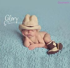 Neugeborene Baby Knit Strick Fotoshooting Kostüm Cowboy Mütze Booties