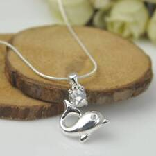 Without chain Silver Plated Fashion Women Dolphin Pendant Necklace Chain Jewelry