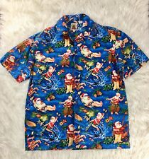 Max Boxxer Surfing Santa Claus Christmas Button Up Hawaiian Shirt Size Medium
