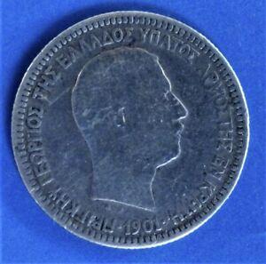 Greece Crete 1901 0.5 Drachmi   KM# 6 Silver.