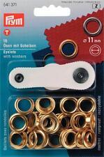 Prym 15 Ösen & Scheiben Öse  goldfarbig 11mm Knöpfe Nieten Boot Garten 541371