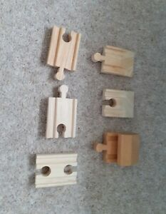 Wooden railway track extending and buffer set compatible with most wooden trains