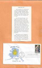 POPE JOHN PAUL II ANCHORAGE VISIT FEB 26,1981  VINTAGE COVER +