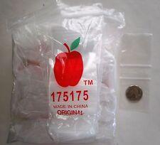 """500 Apple Brand Baggies 1.75"""" x 1.75"""", 2 mil Clear Ziplock 500 Bags # 175175"""