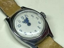 Vtg DONALD DUCK Wind-up Wristwatch Watch Brown Leather Band Jewelry Childrens