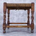 Antique English Dark Oak Rope Footstool
