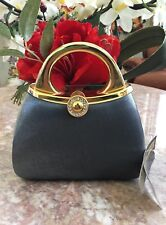 NWT Sasha Evening Gray Satin Gold Metallic Rhinestone Clutch Purse Rare!