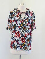 Odille Anthropologie Floral Ruffle Tie Neck Short Sleeve Top Blouse Blue Red 8