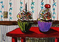 ORIGINAL ACEO CupCakes painting JMW art John Williams ATC Dessert Expressionism