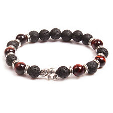 Natural Lava Rock Red Tiger Eye Silver Elephant Stone Bracelet Prayer Elastic