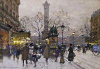 Place de la Bastille, Paris Painting by Eugene Galien-Laloue Reproduction