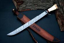 swords Custom handmade forged art Damascus steel SWORD bone handle ships usa