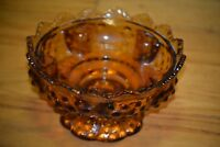 Fenton Amber Glass Hobnail Candle Bowl Pillar or Taper Candle Holder