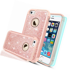 iPhone 5S Case, 5/iPhone SE/iPhone SE 2 with HD Screen Protector,LeYi Glitter Bl