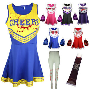 ZOMBIE CHEERLEADER HALLOWEEN FANCY DRESS OUTFIT COSTUME BLOODY TIGHTS & BLOOD