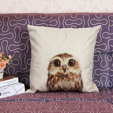 Vintage Owl Cotton Linen Pillow Case Sofa Waist Throw Cushion Cover Home 2017