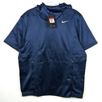 NEW Nike Men's Therma Short Sleeve Football Hoodie Navy Blue Size L 908349-419