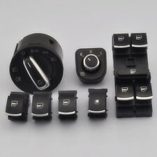 7Pcs/Set Chrome Headlamp and Window Mirror Switch For VW Rabbit Jetta Golf MK5