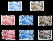GERMANY 1930/33 Excellent Private Graf Zeppelin Reprints 8 Values