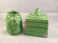 Vintage Porcelain Lingard England Humpty Dumpty Green Sugar Bowl Creamer