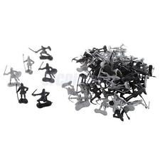 60 pcs/lot Silver Black Warriors Medieval Soldiers Army Figures Playtoy