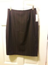 NWT Larry Levine Size 10 Career Chocolate Wisteria Pin Stripe Skirt Knee Length