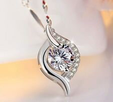 "925 Sterling Silver Necklace 18"" Chain Geometric Cubic Zirconia Pendant Gift Box"