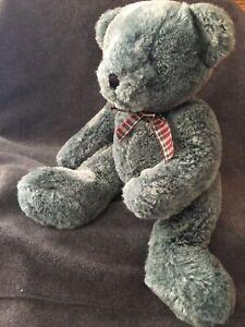 "Russ Berrie 15"" Brambles Teal Blue Gray Teddy Bear Plush Stuffed Animal Toy"