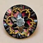 Antique+Vtg+BUTTON+Small+Pearl+Shell+w+Brass+%26+a+Cut+Steel+STAR+NICE+%23H1