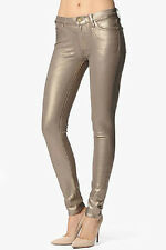 New $235 7 FOR ALL MANKIND THE SKINNY KNIT METALLIC BRONZE COATED JEANS 23