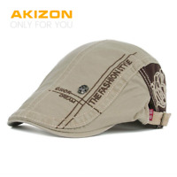 AKIZON New Summer Cotton Berets Caps For Men Casual Peaked Caps letter