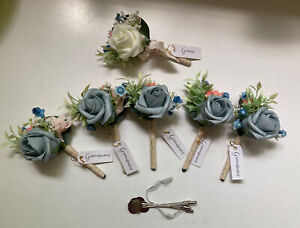 Set Of Groom And Groomsmen Silk Boutonnières Boutonnieres, Blue/White With Pins