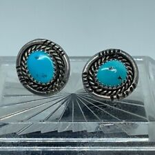Vtg Sterling Silver w/ Turquoise Inlay Earrings
