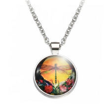 Vintage Dragonfly Tibetan Silver Chain Glass Cabochon Round Pendant Necklace CHI