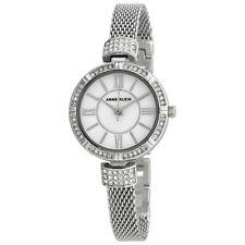 Anne Klein Mother of Pearl Dial Ladies Silver-Tone Watch and Jewelry Set