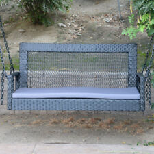 """Black - 60"""" Patio Porch Swing Chair Resin Wicker Tree Ceiling Hanging W/ Chains"""