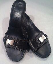 PRADA Black Leather backless Kitten Heels Sandals 37.5 7.5