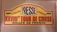 PLACCA TARGA PLATE PLAQUE SCHILD RALLY TOUR DE CORSE 1984